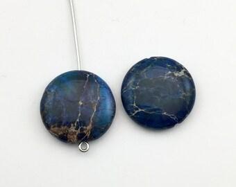2 aqua terra jasper stone beads 20mm #PP 076