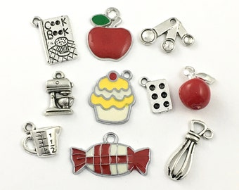 10 food charms silver tone and enamel,15mm to 20mm  # ENS A 376