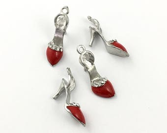 4 high heel shoe charms red enamel and silvertone,8mm x 28m # CH 361