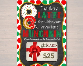 EDITABLE Christmas Thanks a Latte Coffee Donut Gift Card Holder Printable Teacher Gift Daycare Teacher Gift Babysitter Gift INSTANT DOWNLOAD