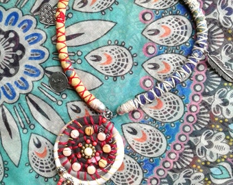 BOHEMIAN handmade Necklace with XL pendant***Gypsy Soul