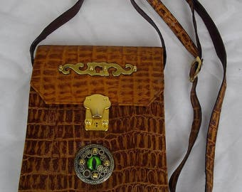 Steampunk bag,  eye bag, shoulder bag,clutch bag, crocodile bag