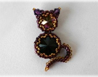 Kitty pendant beading TUTORIAL