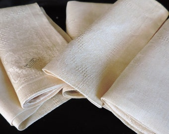 Linen Napkins Belgium Damask Five (5) New Old Stock (never used)