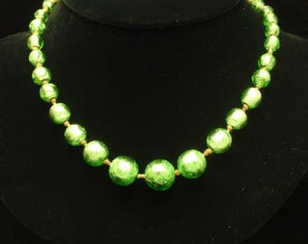 Green Foiled Glass Graduating Sizes Necklace Vintage