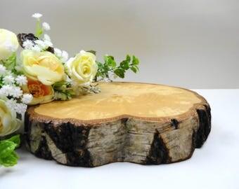 "7""-9""Wood Slab, Wood Slice, Serving Platter, Cake Stand, Houswears, Tree Slice, Stump Slice,Tree Trunk Slice, Birch Wood, Charger, Trivet"