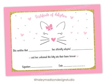 Cat Adoption Certificate, Kitty cat adoption, cetificate of adoption, adopt a cat, kitty cat birthday party, PRINTABLE FILE
