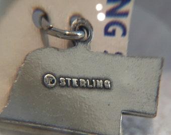 Sterling Silver Nebraska charm (Go Huskers)