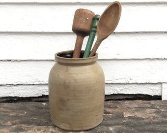 "antique crock ~ 9"" tall ~ perfect for utensils ~ large kitchen crock ~ primitive crock ~ utensil crock ~ farmhouse crock ~ farmhouse antique"