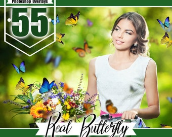 55 Butterfly Overlays Photoshop, photography overlays, natural flying bButterflies, spring summet session, digital overlays,  png file