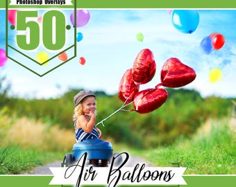 50 Falling air Balloons photo overlays, Photoshop Overlays, wedding overlays, Photo overlay, magic effect, photo prop, png