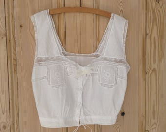 Edwardian   White Cotton Embroidered Lace Camisole / Corset Cover