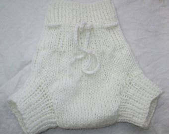 Pure Wool Hand Knitted Soaker/Cover OOAK (Lanolised) - Small - Australian Made
