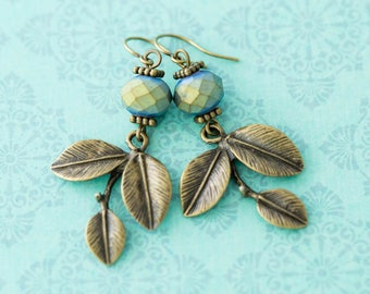 Leaf Charm Earrings with Teal Czech Beads, Leaf Earrings, Nature Lovers Gift, Nature Earrings, Leaf Jewelry, Antique Brass Earrings