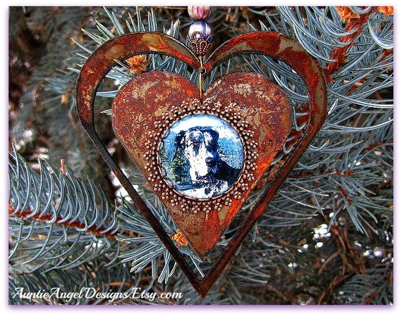 Custom Pet Ornament, Pet Sympathy Photo Gift, Animal Lover Rusted Ornament, Personalized Pet Ornament, Pet Sympathy, Custom Photo Ornament