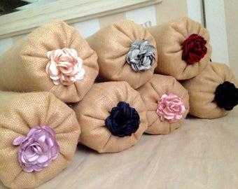 Burlap Bolster/Natural Burlap Bolster/ Shabby Style Flower Buttons Bolster Pillow/Round Pillow/Sofa Bolster Pillow/Burlap Neck Roll Pillow