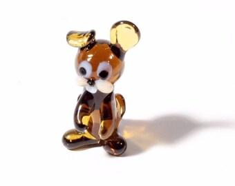 Czech hand lampworked amber glass rabbit bunny ornament decoration figurine 102-36