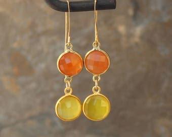 Gemstone and Gold Dangle Earrings, Carnelian Earrings, Long Dangle Earrings, Lemon Quartz Earrings, Yellow and Orange, Summer Earrings