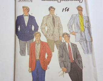 Men's Single Breasted and Double Breasted Lined Jacket / Simplicity 7136 / Mans Suit Jacket Pattern / Uncut Vintage Pattern