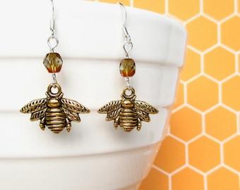 Gold Bee earrings - Honey Bee jewellery - Gift for Bee Keepers - Bee Keepers gift - Cute earrings - Gift for her - Czech glass earrings - UK