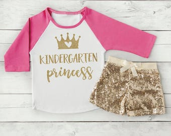 Kindergarten Top and Shorts, 1st Day of School Outfit for Girls Back to School Clothes, Kindergarten Princess 302