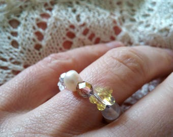"Ring ""Glass andpearls"""