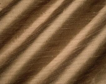 "Raw Umber - Pure Silk Dupioni Fabric - Handwoven - 54"" Wide"