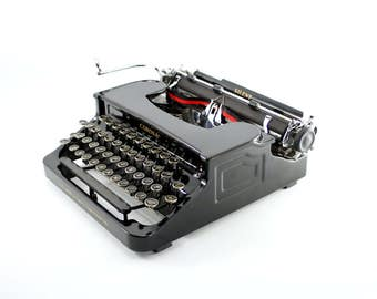 Corona Silent Typewriter - Antique Corona Typewriter - Beautiful FlatTop Corona - Gloss Black - Reconditioned, Working, Gorgeous!