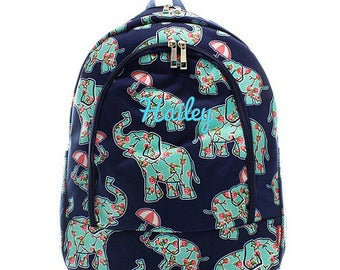Personalized Elephant Backpack Floral Navy Mint Pink Monogrammed Bookbag Girl Large Canvas Kids Tote School Bag Embroidered Monogram Name