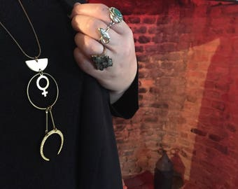 Gloria Feminist Necklace with Brass Crescent and Venus Goddess Charm