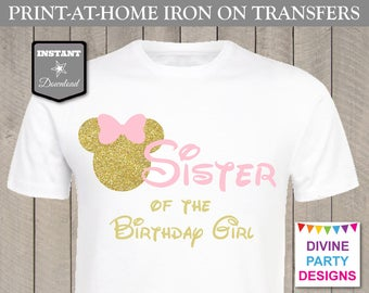 INSTANT DOWNLOAD Print at Home Pink and Gold Mouse Sister of the Birthday Girl Printable Iron On Transfer / T-shirt / Family / Item #3106