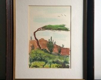 "Anesi Signed Watercolor ""Divi Divi  Tree - Aruba"" 1973 Anesi"
