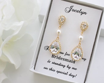 Celena - Swarovski Pearl Wedding Earrings, Yellow Gold Bridal Earrings, Crystal Teardrop Earrings, Bridesmaids Gift, Bridesmaid Earrings