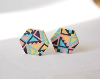 Retro pattern Hexagon wood earrings G26
