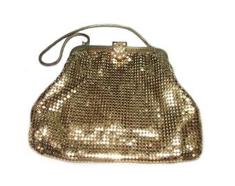 Evening bag gold mesh, vintage evening bag purse golden sequins 50s