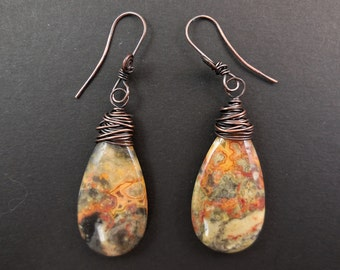 Crazy lace agate teardrop dangle earrings