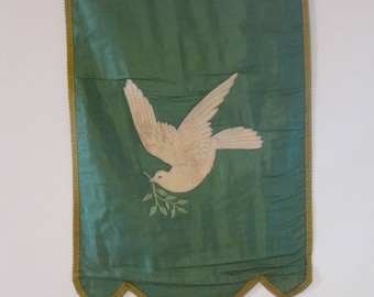 vintage Odd Fellows ceremonial banner with dove