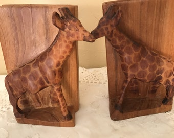 Vintage pair of Giraffe Hand Carved Teak One Piece from Africa Signed Bookends- Brillang