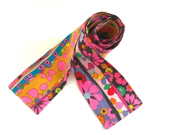 "Mod 1960s Sash Belt Headband Groovy Pop Floral Cotton Tie Vintage Boho Chic Fashion Accessory 72"" Long"