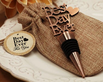 Vintage Copper Finish Bottle Stopper, Best Day Ever Design, Wedding Favors, Wine Bottle Stopper Favors (4026)