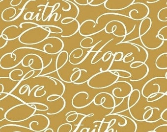 Windham Fabric - Faith by Whistler Studios Gold Words 43028-2 - Quilt, Crafts, Religious, Christian, Jesus, Inspirational
