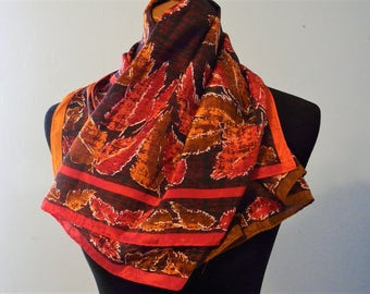 Copper Red Orange Brown and Black Silk Scarf, The Specialty House 100% Silk Scarf