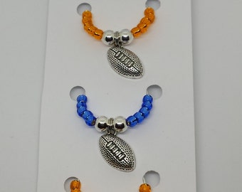 Orange and Blue Football Wine Charms Set of 4