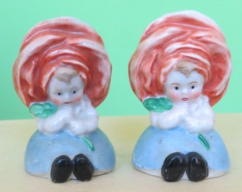 Adorable 1940s Goebel Anthropomorphic Salt & Pepper Shaker Set - Rose Flower Girls - Free Shipping