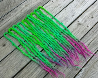 Fairy Circle 10 Double Ended Wool Dreads 20 inches/50 cm green aqua lime berry pink purple