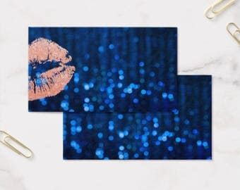 Business Card Template, LIPSENSE/SENEGENCE, Front and Back, Navy & Rose Gold Lips, Instant Download DIY Blank Business Card Template