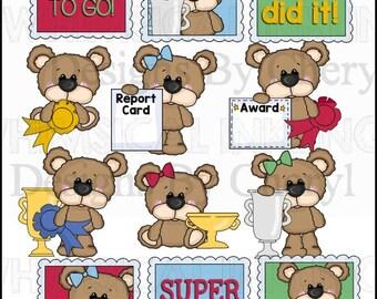 DIGITAL SCRAPBOOKING CLIPART - Big Eye Bear - Achievements