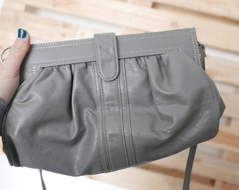 Vintage grey bag pockets real leather brand BLEND OOAK Made in Italy