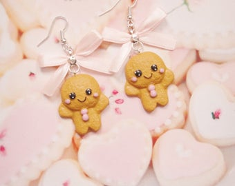 earrings kawaii gingerbread polymer clay