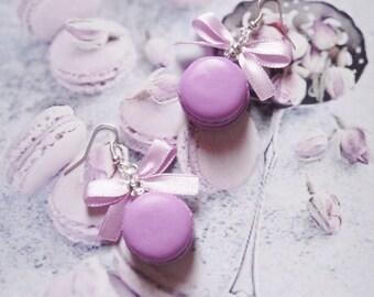 earrings lavander macarons polymer clay